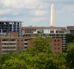 Looking northwest, the Washington Monument