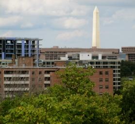 Looking northwest, the Washington Monument