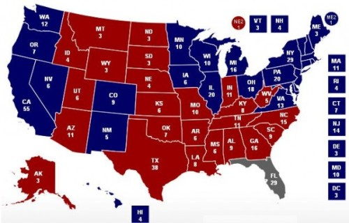 U.S. 2012 ELECTION RESULTS, BLUE STATES  FOR OBAMA, RED STATES FOR ROMNEY. FLORIDA, THE LAST STATE TO BE DECIDED, WENT BLUE. (Map via Wikipedia)