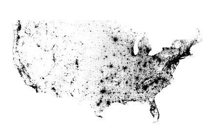U.S. POPULATION DENSITY BASED ON THE 2010 CENSUS. (Map courtesy of Atlanticcities.com)