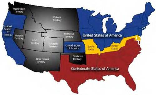 CIVIL WAR UNION STATES IN BLUD AND CONFEDERATE STATES IN RED, WITH FOUR BORDER STATES HIGHLIGHTED IN YELLOW. (Map via Wikipedia.)