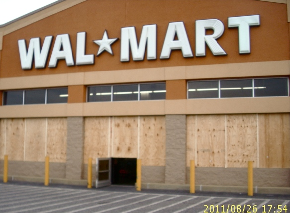 NOT TO WORRY. IT'S ONLY A BAD DREAM. THIS WALMART WAS BOARDED UP AS A PRECAUTION BEFORE HURRICANE IRENE A FEW YEARS BACK. -- John Hayden photo