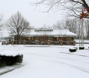 LIGHTS ON, NOBODY'S HOME. McDONALD'S CLOSED, LATE AFTERNOON OF WINTER STORM JANUS