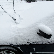DIFFICULT TO IDENTIFY MY OWN CAR, UNDERNEATH THE SNOW