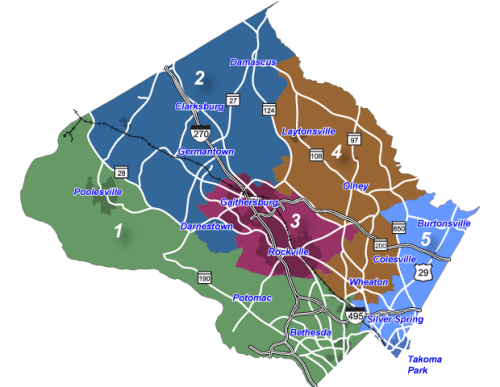 Montgomery County Council districts map.