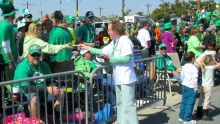 Democrat Judy Davis meeting the crowd at St. Patrick's Day Parade in Ocean City. (John Hayden photo)