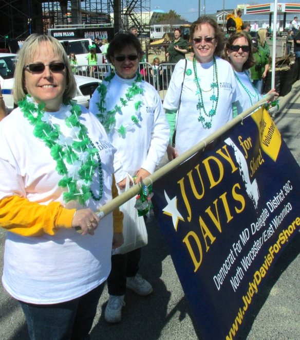 Democrat Judy Davis (second from right) and supporters at St. Patrick's Day Parade in Ocean City. (John Hayden photo)
