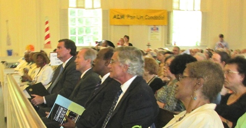 Democratic county executive candidates from left: Doug Duncan, Phil Andrews, Ike Leggett, and Republican Jim Shallek, in front pew at AIM meeting.